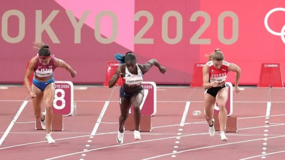Dina Asher-Smith crashes out of 100m final