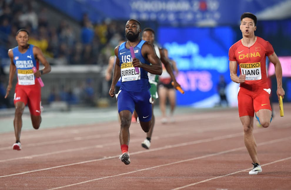 File Cameron Burrell competes during a heat of the 4x100 metres relay at the IAAF World Relays athletics event. Photo: (AFP via Getty Images)