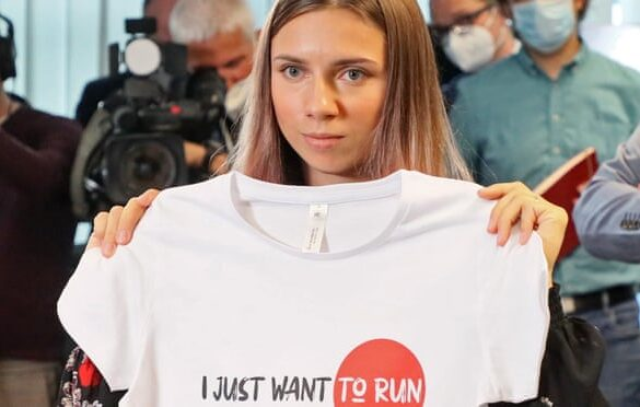 Krystsina Tsimanouskaya speaks in Poland about her ordeal. Two Tokyo Olympics coaches from Belarus have had their accreditation rescinded over the scandal. Photograph: Piotr Molęcki/East News/Rex/Shutterstock