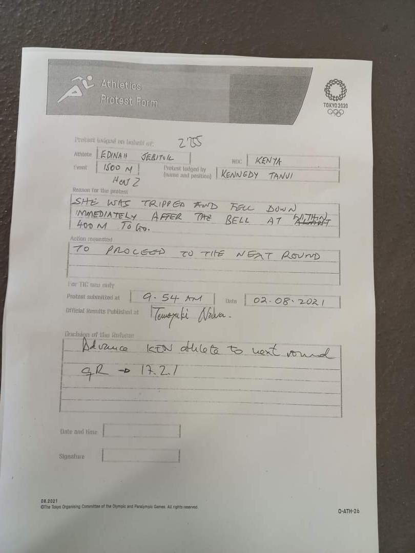 The protest form that was launched by Team Kenya official