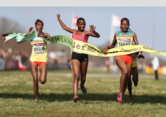 Beatrice Chebet (C) wins the 2019 World Cross Country Championships U20 title Image: FILE
