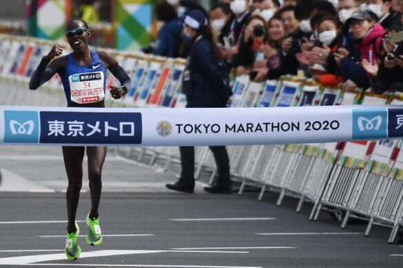 Lona Chemtai Salpeter of Israel crosses the finish line to win the women's category of the Tokyo Marathon in Tokyo on March 1, 2020. - This year's Tokyo Marathon has been closed to all but elite runners due to mounting fears over the spread of the new coronavirus, which has affected dozens of sports events worldwide. (Photo by CHARLY TRIBALLEAU / AFP)