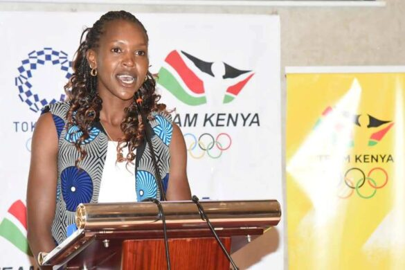 Faith Kipyegon to the guest at the 10km Great Ethiopian Run