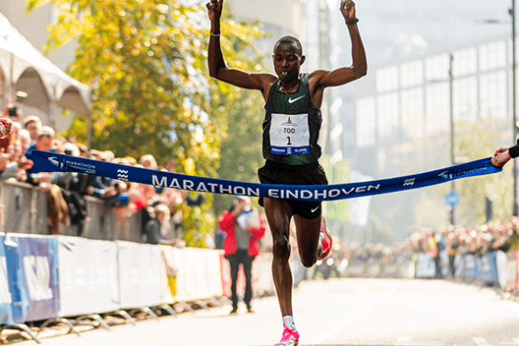 Silas Too leads a Kenyan sweep at the Eindhoven Marathon